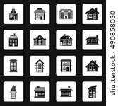 house icons set in simple style.... | Shutterstock . vector #490858030