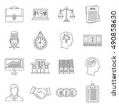 banking icons set in outline... | Shutterstock . vector #490858630