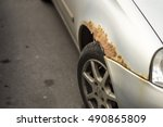 rusty right wing covered with... | Shutterstock . vector #490865809