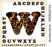 alphabet set design  vector... | Shutterstock .eps vector #490866214
