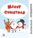 santa reindeer and snowman... | Shutterstock .eps vector #490868494
