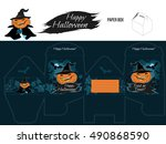 halloween funny cut out box... | Shutterstock .eps vector #490868590