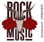 banner for rock music with goat ... | Shutterstock .eps vector #490869829