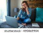 work from home female self... | Shutterstock . vector #490869904