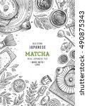 japanese tea ceremony. tea... | Shutterstock .eps vector #490875343