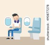 trendy bearded man sleeping on... | Shutterstock .eps vector #490877278