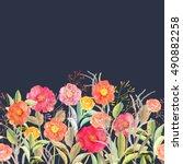 vector seamless floral border.... | Shutterstock .eps vector #490882258