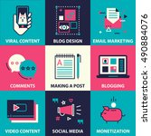 icon set of blogging and social ... | Shutterstock .eps vector #490884076