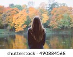 autumn girl standing backwards... | Shutterstock . vector #490884568