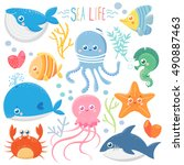 sea life. set with funny sea... | Shutterstock .eps vector #490887463