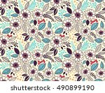 seamless pattern with flowers... | Shutterstock .eps vector #490899190
