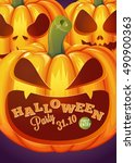 halloween party poster. vector... | Shutterstock .eps vector #490900363