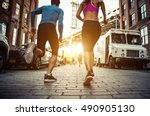 couple running in brooklyn.... | Shutterstock . vector #490905130
