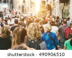unrecognizable mass of people... | Shutterstock . vector #490906510