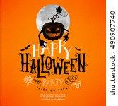 happy halloween lettering.... | Shutterstock .eps vector #490907740