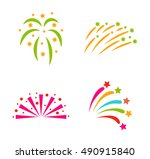 festive firework bursting shape ... | Shutterstock .eps vector #490915840
