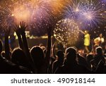 new year concept   cheering... | Shutterstock . vector #490918144