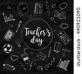 happy teacher's day   unique... | Shutterstock .eps vector #490921090