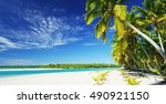 beautiful tropical island... | Shutterstock . vector #490921150