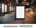 mock up of template bus stop...   Shutterstock . vector #490925053