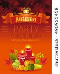 autumn party poster for fall...   Shutterstock .eps vector #490925458