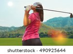 young women player golf swing... | Shutterstock . vector #490925644