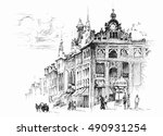 black and white sketch... | Shutterstock .eps vector #490931254