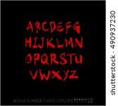 alphabet   number   handwriting ... | Shutterstock .eps vector #490937230
