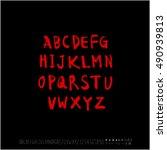 alphabet   number   handwriting ... | Shutterstock .eps vector #490939813