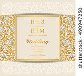 wedding invitation or card with ... | Shutterstock .eps vector #490947250