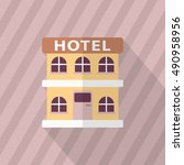 hotel icon  vector flat long... | Shutterstock .eps vector #490958956
