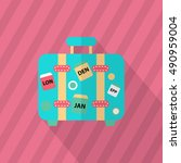 luggage icon  vector flat long... | Shutterstock .eps vector #490959004