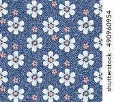 vector daisies seamless pattern.... | Shutterstock .eps vector #490960954