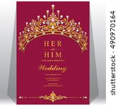wedding invitation or card with ... | Shutterstock .eps vector #490970164