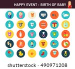 happy event   birth of baby... | Shutterstock .eps vector #490971208