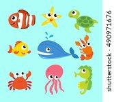 seamless underwater cartoon... | Shutterstock .eps vector #490971676