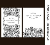 invitation with floral...   Shutterstock .eps vector #490971829