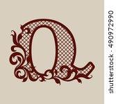 elegant monogram the letter q.... | Shutterstock .eps vector #490972990