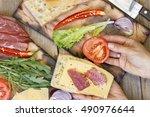 sandwich. process of making... | Shutterstock . vector #490976644