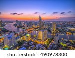 curve of chao phraya river and... | Shutterstock . vector #490978300