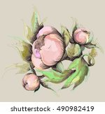 greeting card with peony.... | Shutterstock . vector #490982419