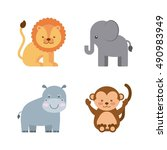 group animal cute icon vector... | Shutterstock .eps vector #490983949