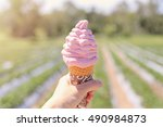 hand holding freshly made... | Shutterstock . vector #490984873