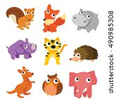 set of cute woodland animals... | Shutterstock .eps vector #490985308
