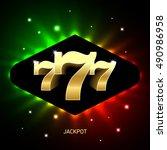 triple sevens casino jackpot...   Shutterstock .eps vector #490986958