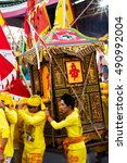 Small photo of PHUKET-OCTOBER 20,2015: Amazing Palanquin housing of gods carrying by devotees for street procession in the morning of vegetarian festival/Nine Emperor Gods Festival at Kathu shrine,Phuket,Thailand