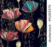 colorful tulips on the black... | Shutterstock . vector #491005570