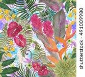 watercolor seamless tropical... | Shutterstock . vector #491009980