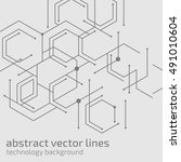 geometric lines and dots. line... | Shutterstock .eps vector #491010604