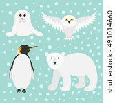 arctic polar animal set. white... | Shutterstock . vector #491014660